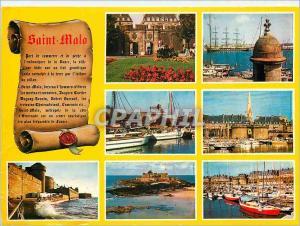 Moderne Karte Saint Malo Cote Corsaire La Cote d'Emeraude Couleurs de Bretagne Les Remparts le Fort National e