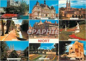 Moderne Karte Niort (Deux Sevres) Le donjon L'hotel de ville L'eglise St Andre La Sevre