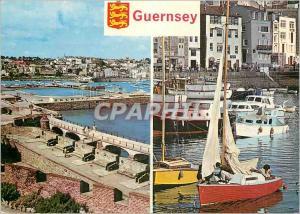 Moderne Karte Guernsey St Peter Port From the Battiements of Historic Castle Bateaux