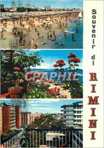 Moderne Karte Souvenir du Rimini La Spiaggia Panorama Visto de Eden Rock