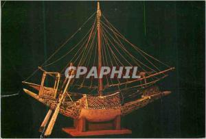 Moderne Karte Egypt Modele de Barque en Bois peint