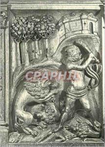 Moderne Karte L'Eglise de Montreal (Yonne) Les Stalles du XVIe S David terrassant un Lion deux autres sont dej