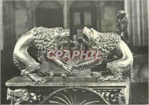 Moderne Karte L'Eglise de Montreal (Yonne) Deux Lions se disputant un Os