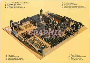 Moderne Karte Abbaye de Cluny (Saone et Loire) En Bourgogne executee par le Cordonnier Francois Gueugnon en 18