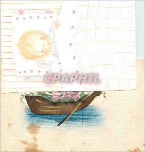 Moderne Karte Barque Fleurs