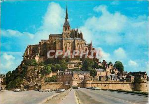 Moderne Karte Le Mont Saint Michel (Manche) Ilot Granitique de 900m de tour et de 80 m de Haut