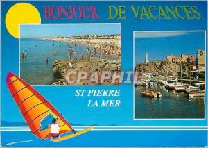 Moderne Karte St Pierre la Mer (Aude) la Plage et le Port Brossolette Planche a voile Bateaux