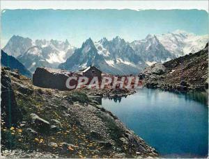 Moderne Karte Chamonix Mont Blanc Le Lac Blanc Les Grandes Jorasses Les Aiguilles et le Mont Blanc