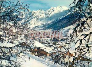 Moderne Karte La Clusaz (Haute Savoie) Altitude 1100 2600 m La Station sous la Neige avec au fond la Chaine de