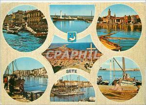 Moderne Karte Sete (Herault) Divers aspects de la Ville Bateaux Joute