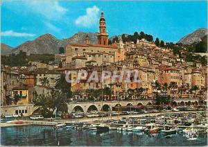 Moderne Karte Menton La Cote d'Azur La Perle de la France La Vieille Ville Bateaux