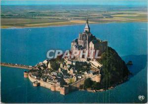 Moderne Karte Le Mont Saint Michel (Manche) Vue aerienne du Mont par Grande Maree L'Abbaye des Merveilles Les