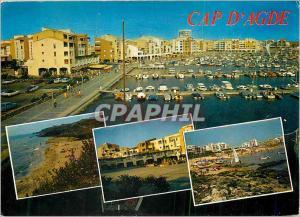 Moderne Karte Cap d'Agde Paysage du Languedoc Bateaux
