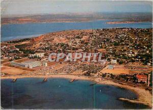 Moderne Karte Sete (Herault) Vue Aerienne sur la Corniche et sa Plage avec ses Campings au Fond l'Etang de Tha