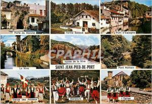 Moderne Karte St Jean Pied de Port Porte du marche Ferme basque Danseurs Folklore L'eglise