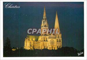Moderne Karte Les Merveilles de Chartres (Eure et Loire) la Facade Illuminee de la Cathedrale du XIIe siecle