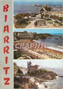 Moderne Karte Biarritz (Pyr Atlantiques) de haut en bas Le Rocher de la Vierge et le Monumentaux aux Morts La