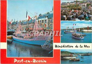 Moderne Karte Port en Bessin Normandie France Bateaux de peche