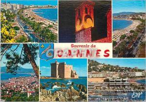 Moderne Karte Cannes (A M) La Cote d'Azur La Croisette et ses Palaces La Croisette et le Suquet Vue Generale
