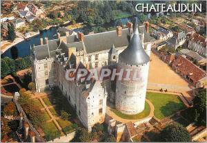 Moderne Karte Chateaudun (Eure et Loire) la Vallee du Loir Vue Aerienne du Chateau au Premier Plan le Donjon d
