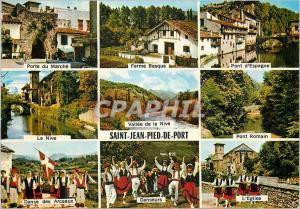 Moderne Karte Saint Jean Pied de Port Porte du marche Ferme basque Danseurs Folklore