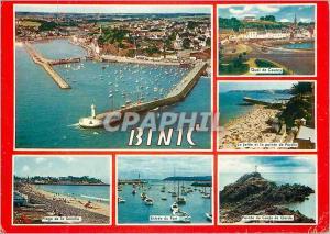 Moderne Karte Binic (Cotes du Nord) Plage de la Banche Quai de Courcy Entree du port