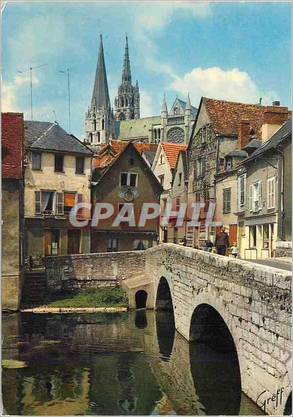 Moderne Karte Chartres (Eure et Loir) en Beauce Vieux Pont sur l'Eure et la Catherale 0