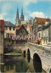Moderne Karte Chartres (Eure et Loir) en Beauce Vieux Pont sur l'Eure et la Catherale