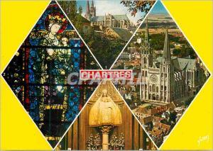 Moderne Karte Cathedrale de Chartres (Eure et Loir) Couleurs et Lumiere de France Vue d'Ensemble de la Cathedr