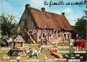 Moderne Karte La Famille au Complet Chevre Cochon Porc Vache Cheval Ane Donkey