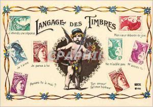 Moderne Karte Langage des Timbres J'attends une reponse Je Pense a toi Ne m'oublie pas Sabine Marianne