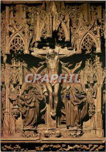 Moderne Karte Cathedrale de Strasbourg la Chaire Detail Christ en Croix entre la Vierge et Saint Jean
