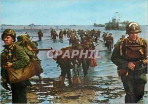 Moderne Karte Debarquement en Normandie Troupes Debarquant sur la Cote Normande Militaria