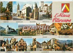 Moderne Karte L'Alsace Pittoresque Munster Guebwiller Mulhouse Ribeauville Colmar Nid de cigognes