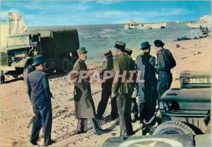 Moderne Karte Debarquement en Normandie 14 Juin 1944 Le General de Gaulle Liberateur foule le Sol de France Mi