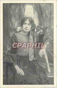 Moderne Karte Bretagne Jeune Bigoudenn Folklore Femme