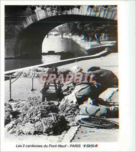 Moderne Karte Paris 1954 Les 2 cardeuses du Pont Neuf Numi Carta 1999 Palais Omnisport Paris Bercy Maurice Bon