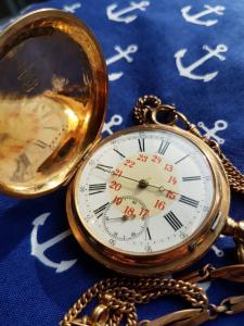125317 Goldene Sprungdeckel Taschenuhr Remontoir Spiral Breguet 14k Gold