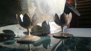 Versilberte Oster - Kerzenständer