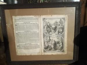 Bibelseite von Martin Luther - 18. Jahrhundert Kerbholzrahmen