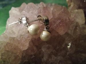 Perlohrringe mit Zirkon 925er Silber