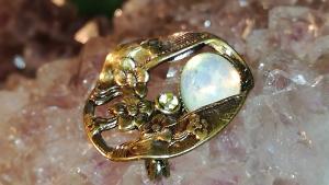 Jugendstil Brosche Schaumgold - Opal
