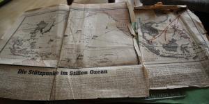Zwei alte Zeitungsausschnitte - Stützpunkte im Pazifik - Japan Krieg   1942