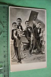 Tolle alte Karte - Musiker Rudi Heller Quartett - Görlitz