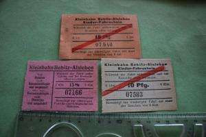 Drei alte Fahrscheine - Kleinbahn - Bebitz-Alsleben - Alter ???