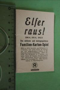 Tolle alte Spielanleitung Elfer raus !  Hausser Spiele -  30-40er Jahre ???