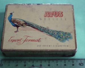 Alte Zigarettendose - Atos Auslese Export Format mit einem Pfau