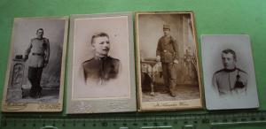 Vier tolle alte CDV Fotos - Portraits Soldaten - St. Polten, Wien, Mostar