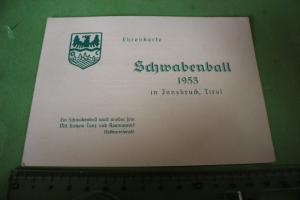 Tolle alte Ehrenkarte - Schwabenball 1953 - Innsbruck, Tirol