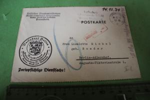 Tolle alte Karte  Dienstsache des hessischen Staatsministerium Darmstadt - 1934